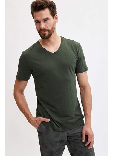 DeFacto V Yaka Slim Fit Basic T-shirt Haki